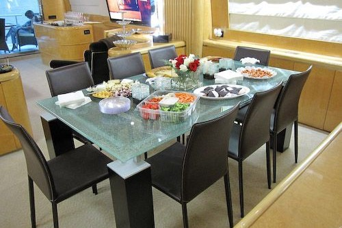 95' Elegance Yacht Interior Dinning