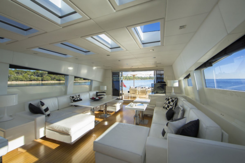 106 Leopard Yacht Charter Salon Skylights