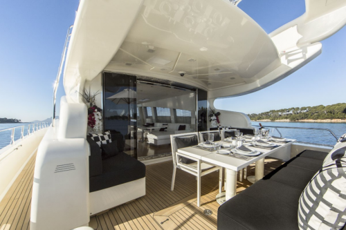 106 Leopard Yacht Charter Sldding Glass Doors to Aft
