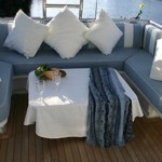 122' Oceanfast Yacht Ouside Seating Area