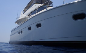 60' Marquis Anchored at Sea