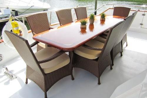 95' Elegance Yacht Aft Deck Dinning