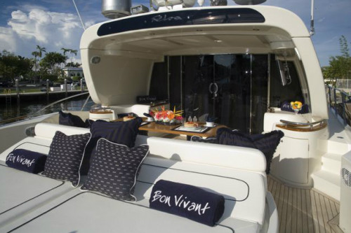 72' Riva Yacht Aft Deck and Sun Pad