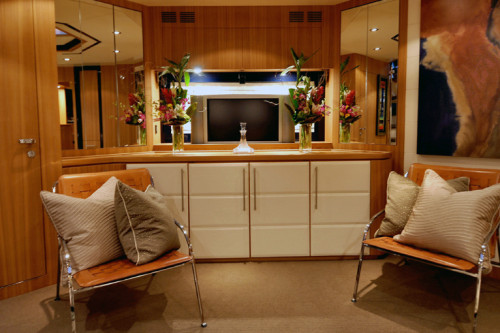 72' Riva Yacht Interior Sitting