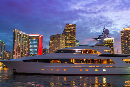 154' Delta Yacht at Sunset in Miami