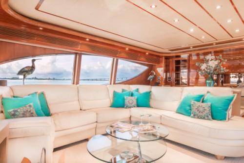 94 Ferretti Miami Yacht Charter Salon Seating