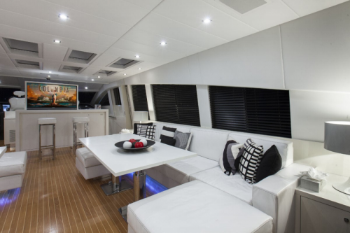 106 Leopard Yacht Rental Table and Seating
