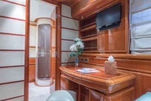 94 Ferretti Miami Yacht Charter Guest Room Desk