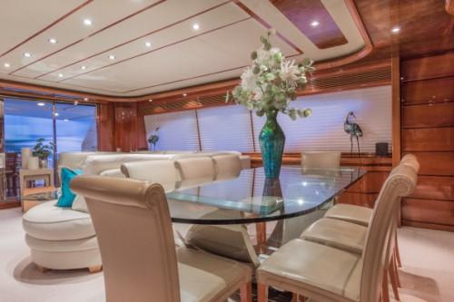 94 Ferretti Miami Yacht Charter Dinning Area